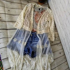 Xhilaration long cream lace cardigan